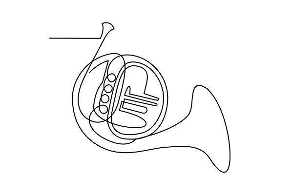 Continuous Line Drawing French Horn French Horn Line Drawing Continuous Line Drawing