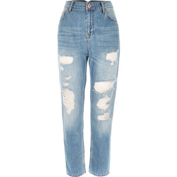 Mid blue wash ripped Mom jeans ($30) ❤ liked on Polyvore