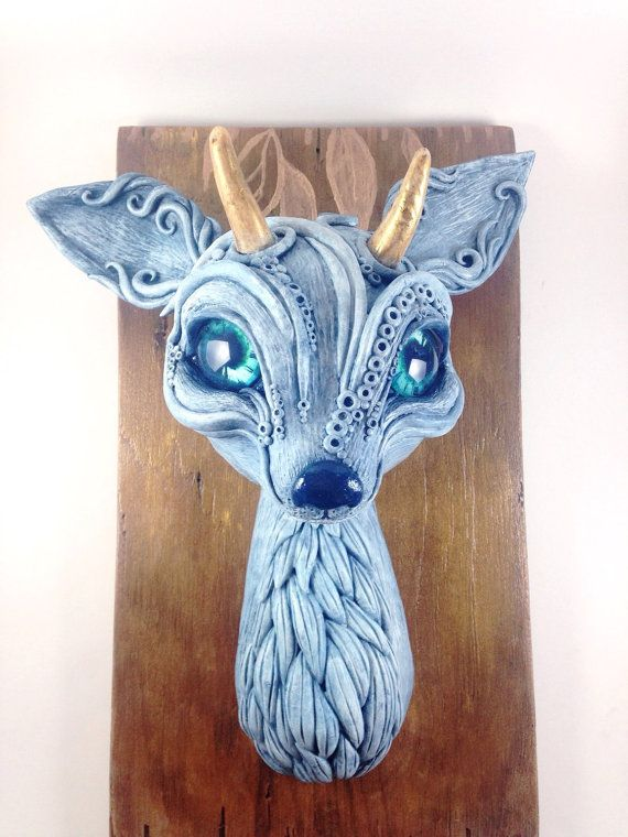 Spirit Deer Faux Wall Mount Sculpture by PatchRabbit on Etsy