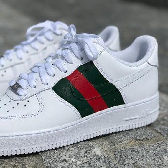 24121b54443f5a Nike Air Force 1 Low with Gucci Inspired Design in 2019