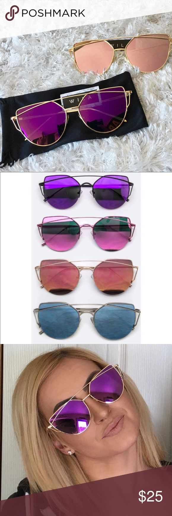 Cat eye sunglasses mirrored cat eye purple or pink These very trendy mirrored cat eye sunglasses look awesome! 2 pairs available in either purple or pink tone with gold rims.  Please note the sunglasses look lighter than they are but are dark and are uv protection all sunglasses come with a black case🎀bundle to receive discount. WILA Accessories Sunglasses