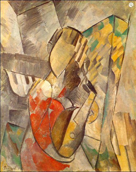 Pablo Picasso (1881-1973), Donna con mandolino,1909, olio su tela (una delle due versioni).