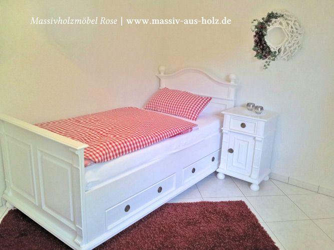 Weißes Einzelbett 90x200 mit zwei Schubladen massiv Holz