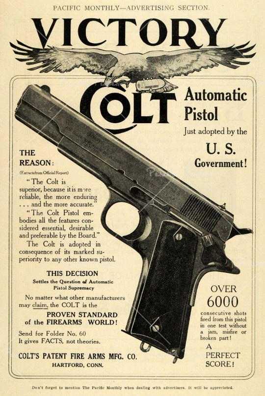A vintage ad for the Colt Government Model in ACP, still the gold standard  of semi-automatic pistols
