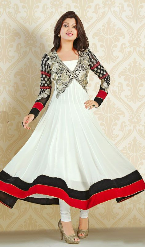 White Flared Georgette Long Anarkali Suit Price: Usa Dollar $98, British UK Pound £58, Euro73, Canada CA$106 , Indian Rs5292.