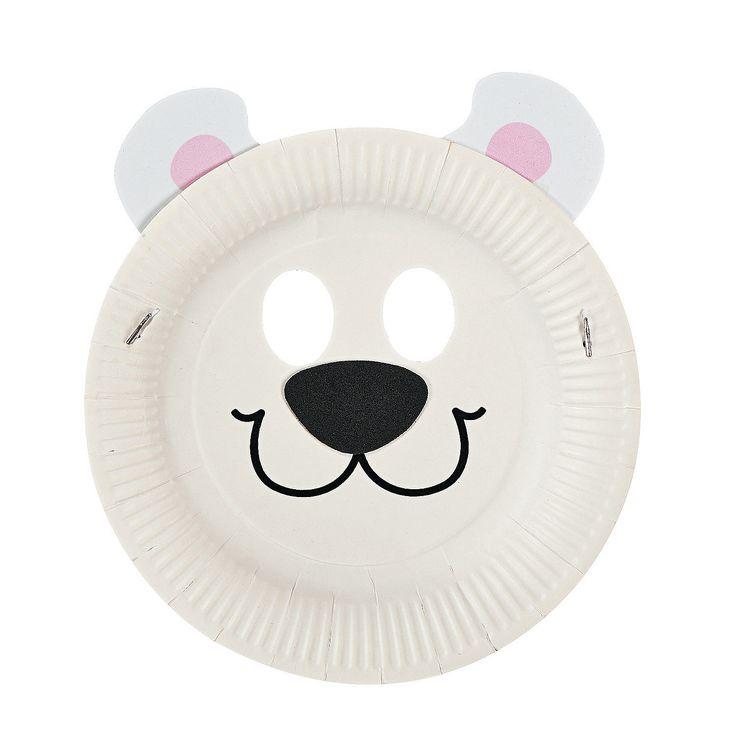 Paper Plate Polar Bear Mask Craft Kit - OrientalTrading.com