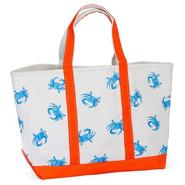 One Kings Lane - Nautical Necessities - Crab Tote, Tangerine/Turquoise
