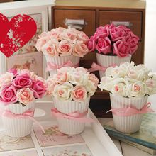 Wedding and home decoration manual simulation potted artificial roses flower