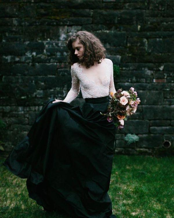 black skirt wedding dress