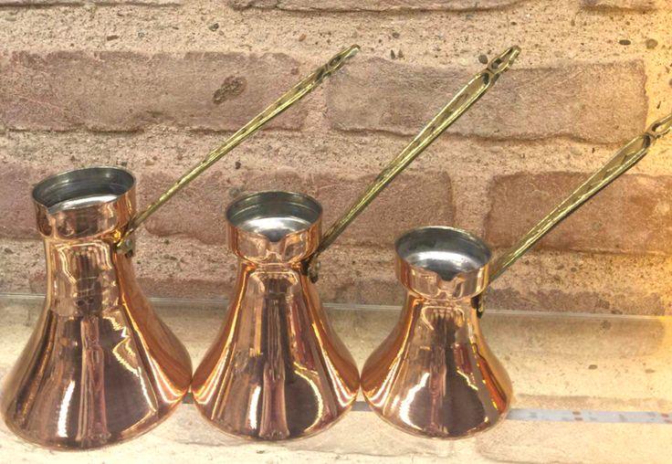 LUXURIOUS COPPER TURKISH IBRIK SET OF THREE, TURKISH COFFEE POT SET by GRAND BAZAAR SHOPPING
