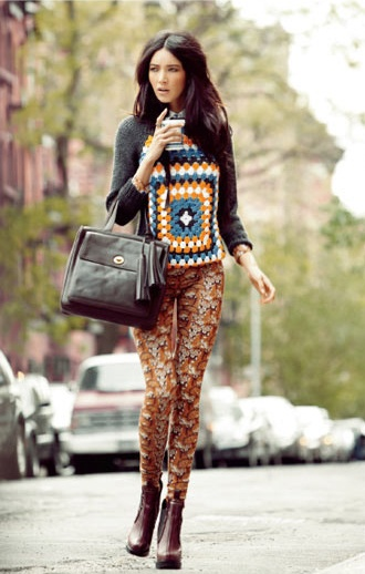 Casual ChicElle Mexico, Fashion, Casual Chic, Style Beautiful, Contrast Pattern, Street Style, Granny Squares, Mexico September, Estes Outfit