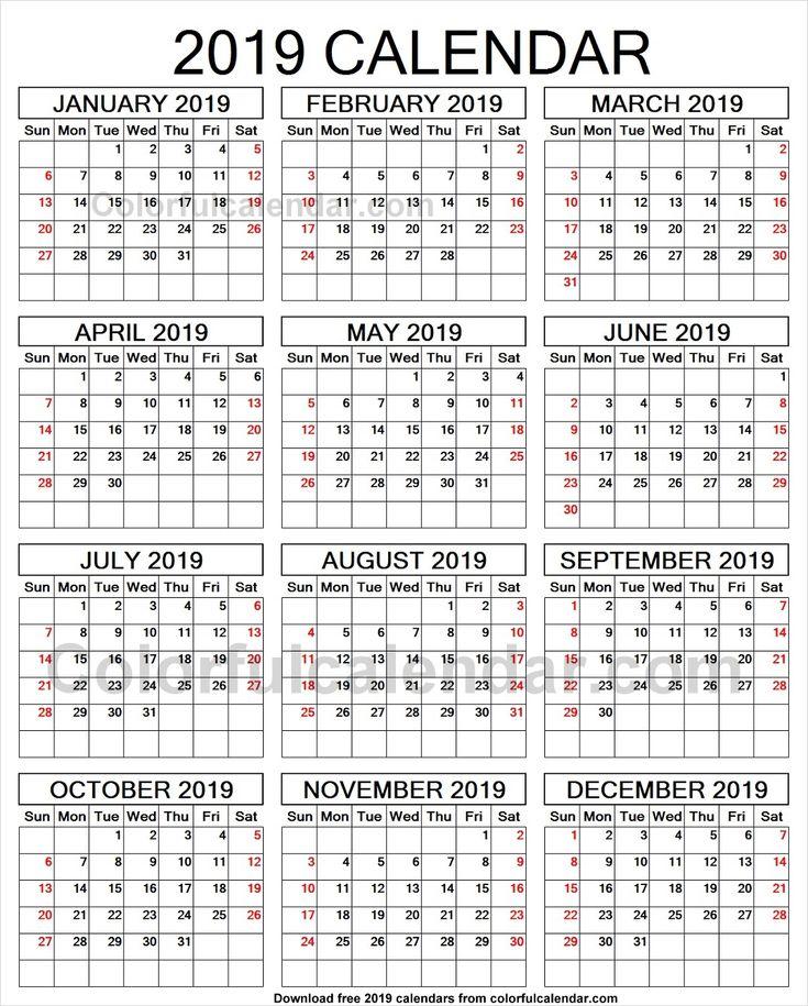 2019 year calendar to print