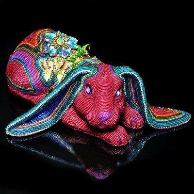 Beaded Rabbit by Kathy Wegman at Pismo Fine Art Glass