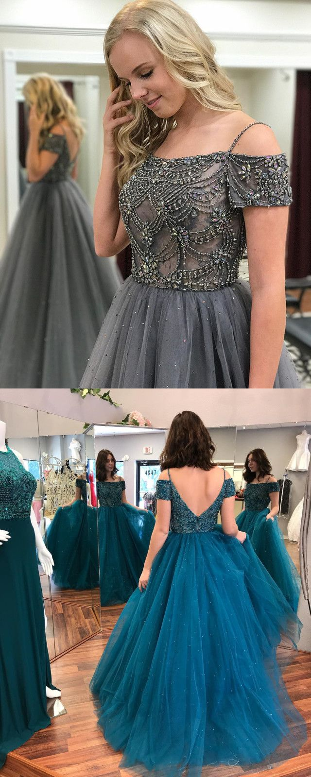 Long Gray Tulle Prom Dresses Short Sleeves Elegant Evening