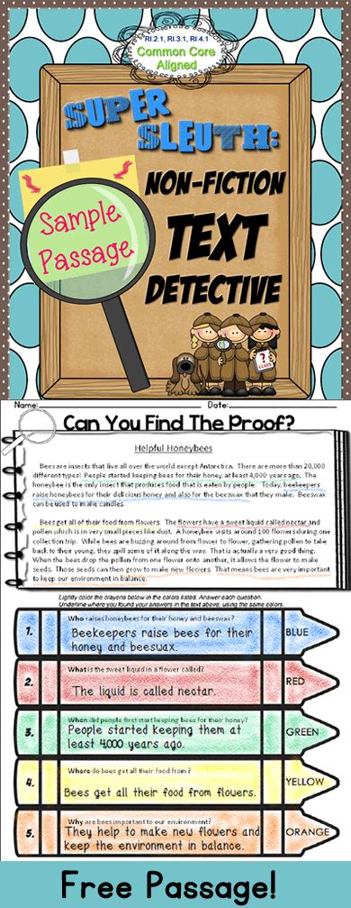 FREE! An original nonfiction text passage with 5W questions. Students read a short passage then underline where they found their answers using color crayons as indicated. #commoncore
