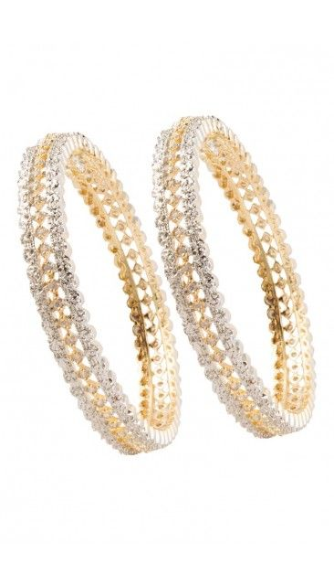 Indian Golden and white ethnic Bangles - 80962