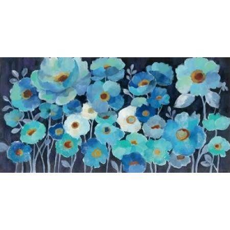 Indigo Flowers Canvas Art - Silvia Vassileva (24 x 36)