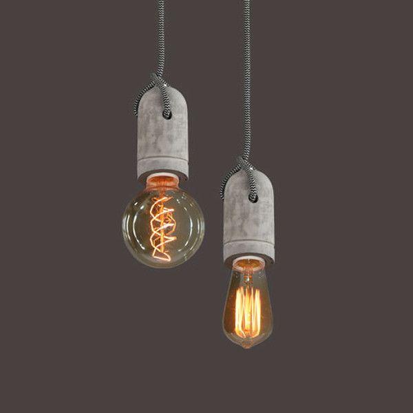 Concrete Bare Bulb Pendant Light