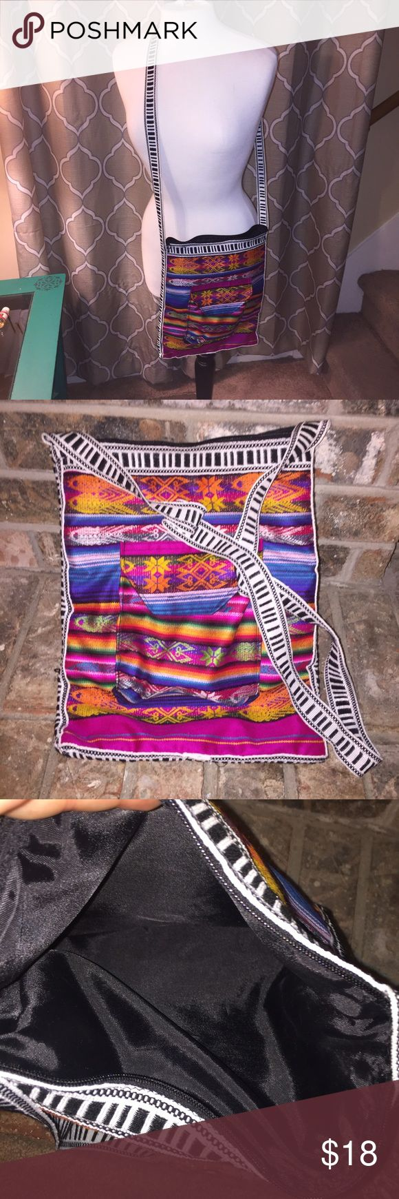 Colorful Indian Aztec crossbody bag BoHo hippie Fabric :  Mixed color yarn.   New without tags hand crafted  handbag. Multi Thread embroidery with zipper closure