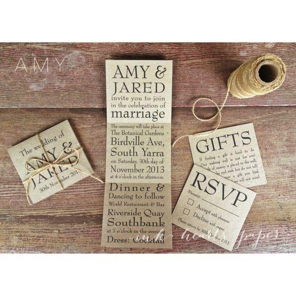 brown recycled kraft wedding invitations rustic vintage backyard twine simple