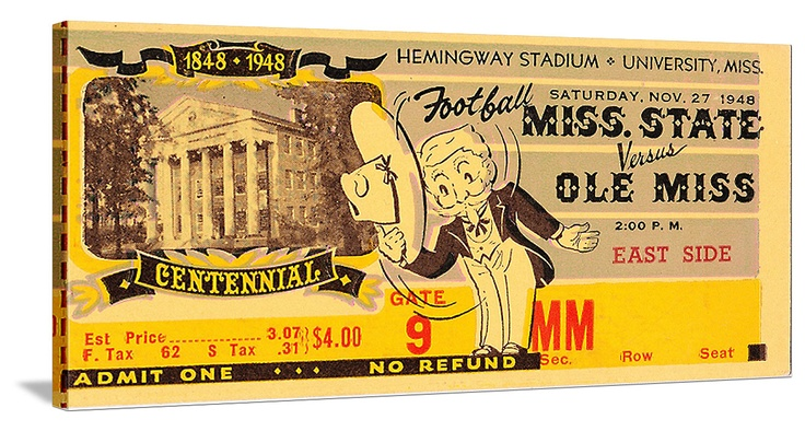 Great Mississippi game room decor. 1948 Ole Miss vs. Mississippi State football ticket canvas art. The best vintage football art for game rooms is at http://www.shop.47straightposters.com/ Canvas football art.