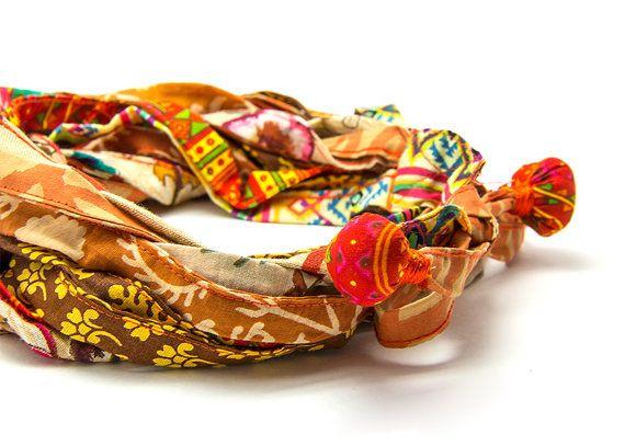 SUMMER SALE Upcycled textile belt Boho fabric belt by ATLIART