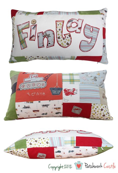 Keepsake Personalised Patchwork Cushions (from baby clothes) » Patchwork Castle