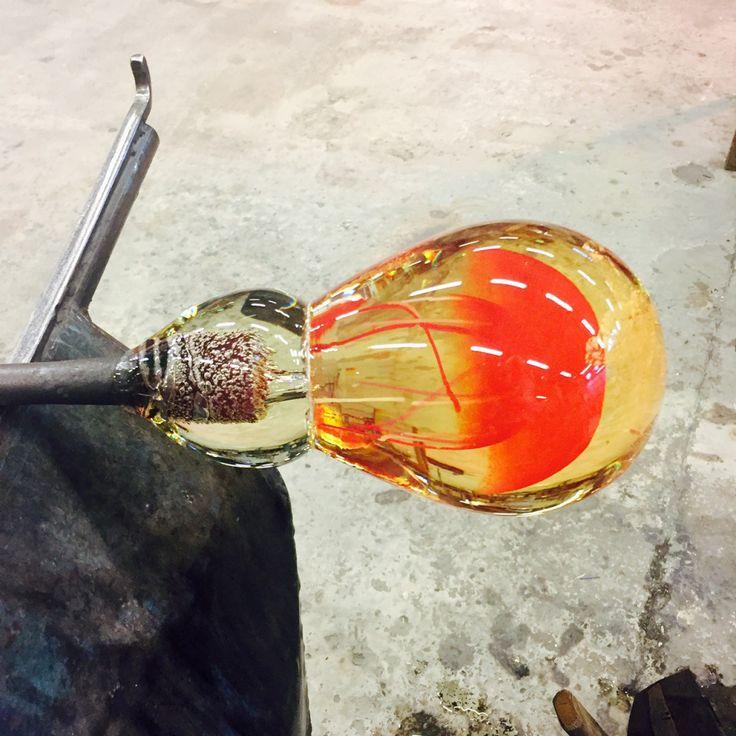 Blowing glass at Magnor Glassverk in Norway with artist Camilla Prytz