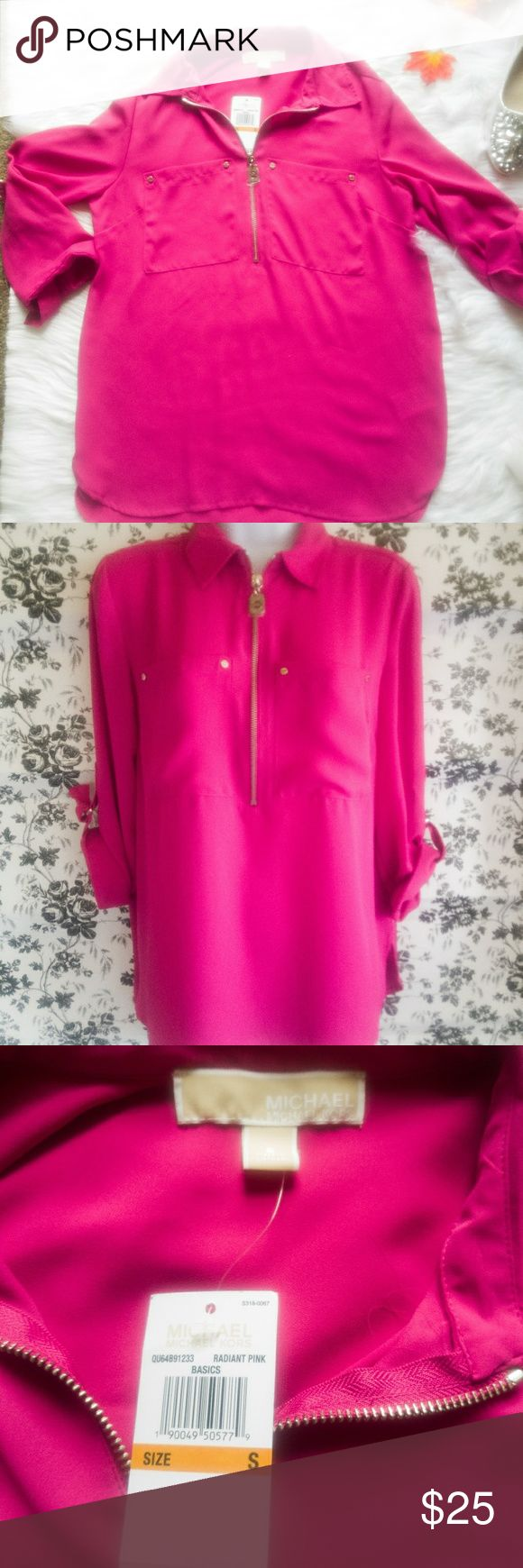 🔥🔥MICHAEL KORS PINK RADIANT SLOUCHY TOP🔥🔥 MICHAEL KORS PINK RADIANT SLOUCHY TOP. BRAND NEW WITH TAGS. RETAILS FOR $110.00. SLOUCHY FLOWY RADIANT PINK COLOR.  HAS SOME GOLD DETAILING AND MK LOGO ON THE ZIPPER AND THE SLEEVES. SIZE SMALL Michael Kors Tops