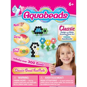 A great introduction to Classic Aquabeads! This set includes over 300 beads, 4 mini templates, mini layout tray, mini bead case and mini spray bottle. Have fun using the enclosed templates, or create your own amazing bead art creations with classic beads. Set also includes instructions with 5 additional templates.