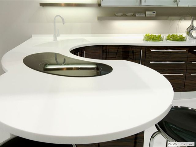 High Quality Corian Can Be Molded For Unusual Countertop Shapes.