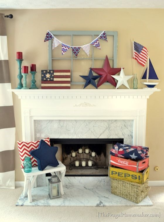 15 Fabulous Fourth Of July Mantels (Flashback Friday) via TheKimSixFix.com