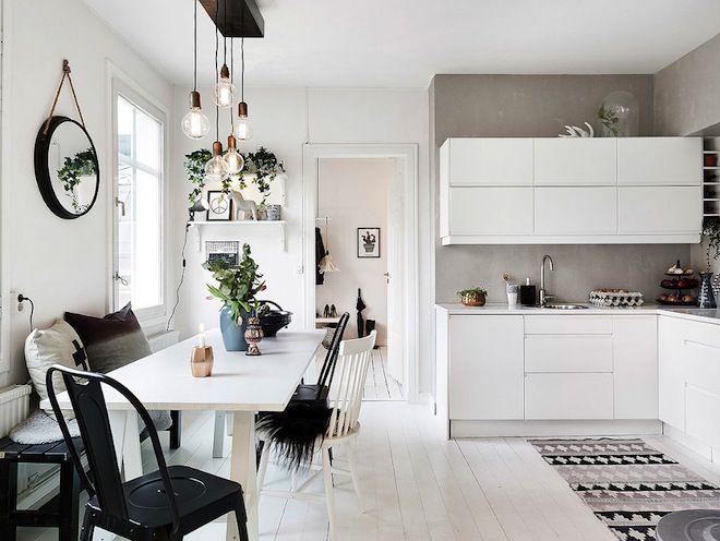 Кухня и обеденная зона в скандинавском стиле