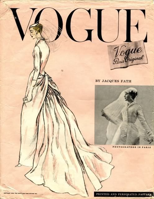 Vintage Vogue bridal gown pattern, 1956 by Jacques Fath