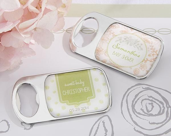 Personalized Bottle Opener with Epoxy Dome - Kate's Rustic Baby Shower Collection