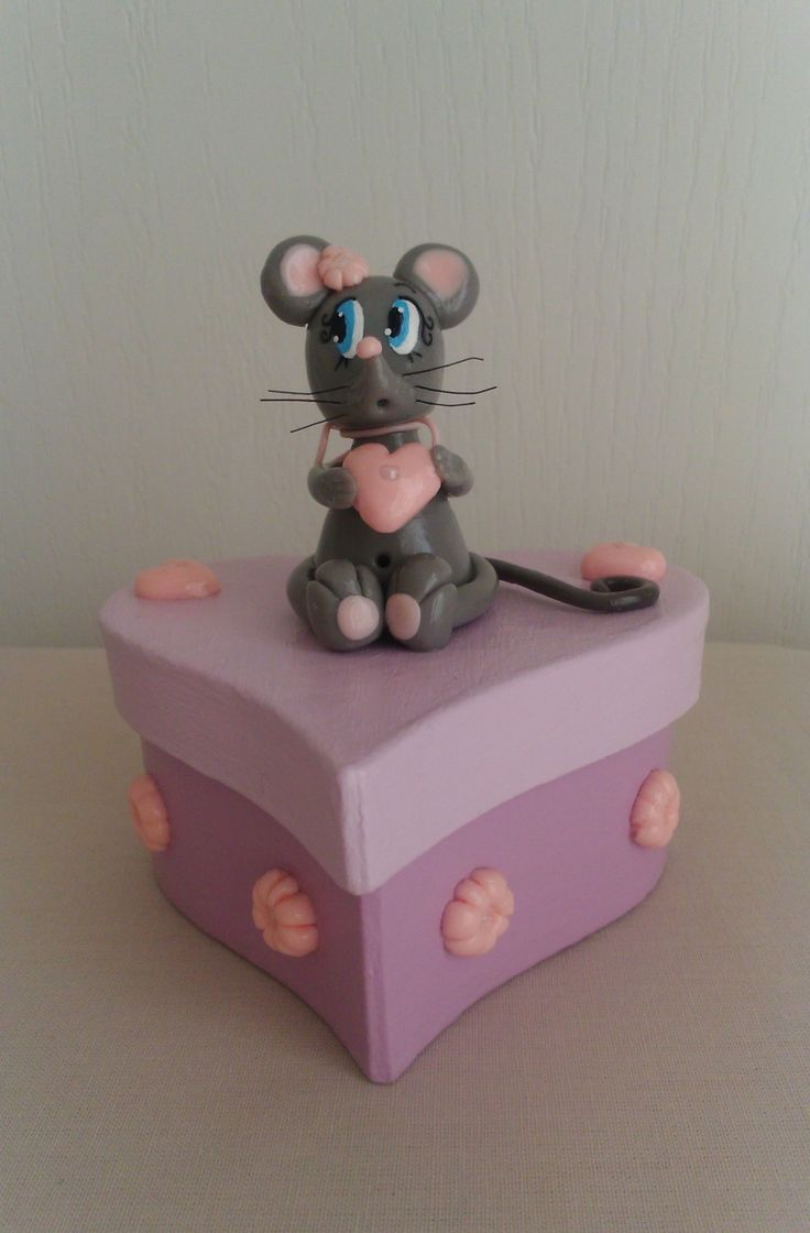 Boite à dents de lait cœur rose avec sa petite souris : Autres par fantaisie-deco