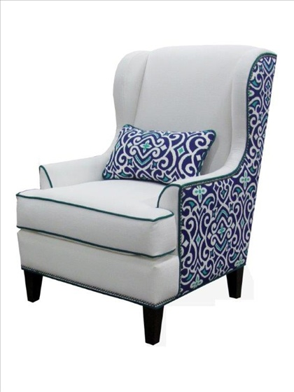 Best Logan Wing Chair Oyster White Fabric With Aqua Blue 400 x 300
