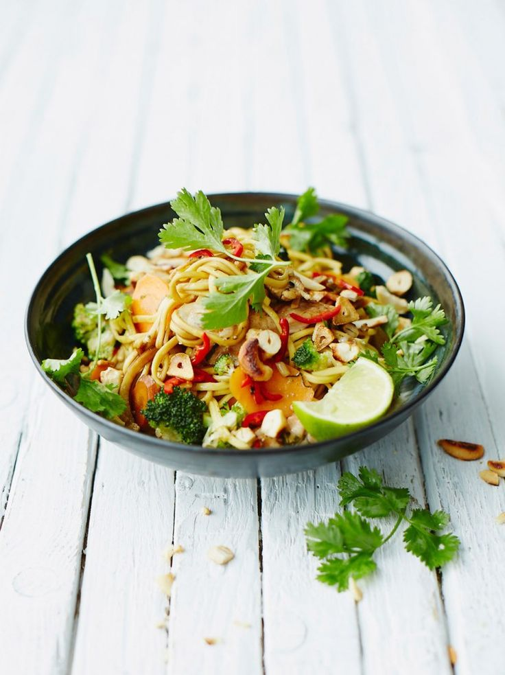 Chicken noodle stir-fry - take out cashews and use rice noodles
