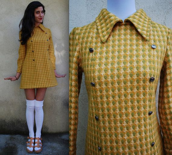 Vintage 60s Mustard yellow and green woven butterfly collar mod mini shift dress