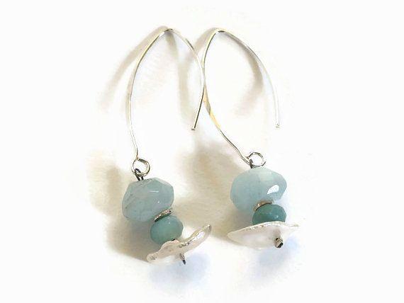 blauw zilver oorbellen, handgemaakt hangende kralen oorbellen van sterling zilver, keishi parels en aquamarijn, opaal, 925 zilver oorhaakjes