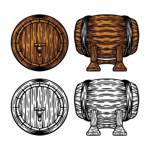 Vintage Retro Wooden Beer And Wine Barrel Isolated Vector Illustration Retro Vintage Retro Vector Illustration