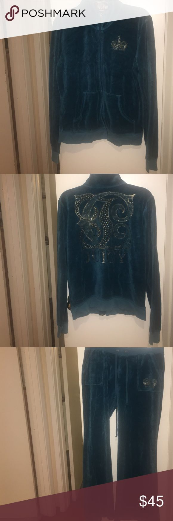 Juicy couture sweatsuit. Beautiful blue sweatsuit! Worn about 5 times so still like new!! The pants are flare and Size M, the track jacket too is a size L. Juicy Couture Tops Sweatshirts & Hoodies