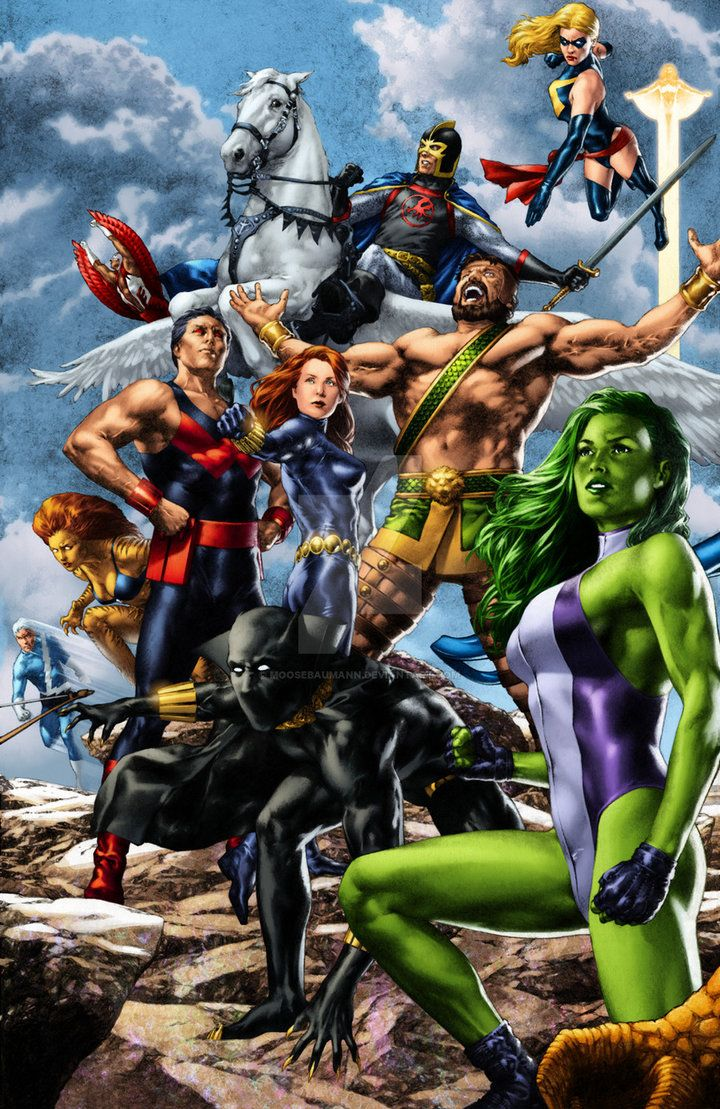 BlackKnight SheHulk Hercules Wonderman BlackWidow BlackPanther Quicksilver Falcon Tigra MsMarvel