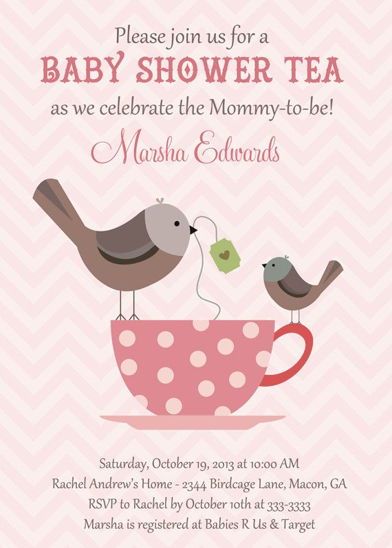 Birds & Teacup Baby Shower Tea Invitation  by PartyPopInvites, $17.00