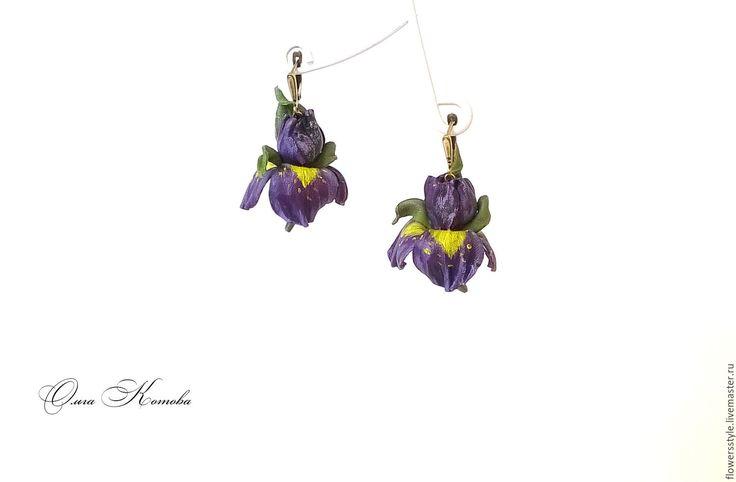 Купить Цветочные серьги из кожи Фиолетовые ирисы - фиолетовый, фиолетовый цвет, фиолетовый цветок