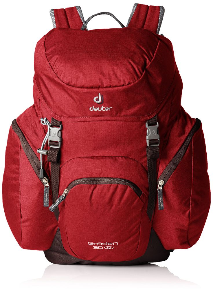 Deuter Groeden 30 SL Backpack - Cranberry/Aubergine. Aircomfort System. Hip belt with ventilation pads (Zugspitze); padded hip fins (Groden). Anatomically shaped, soft edged shoulder straps. Double lid buckles, which allow extra gear to be securely stored under the lid. Spacious bellow side pockets and roomy front pocket for extra volume.