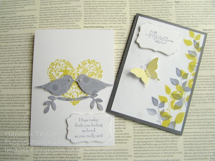 Cards using 'Summer Starfruit' and 'Basic Black' ink