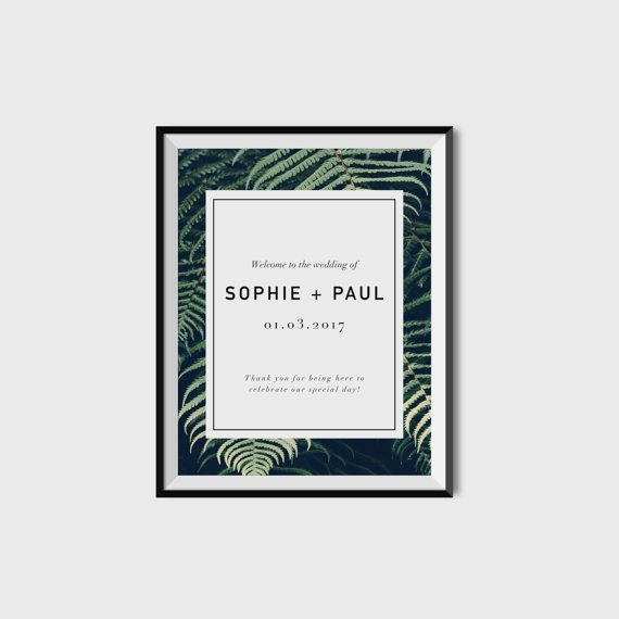 A3 Wedding Welcome Party Sign  | Printable | Ferns, greenery and modern type