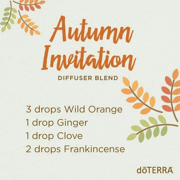 Autumn Invitation Diffuser Blend for essential oils 3 drops Wild Orange 1 drop Ginger 1 drop Clove 2 Drops Frankincense