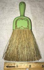 ANTIQUE WHISK BROOM METAL GREEN TIN LITHO VICTORIAN VINTAGE HANDLE CRUMBER BRUSH